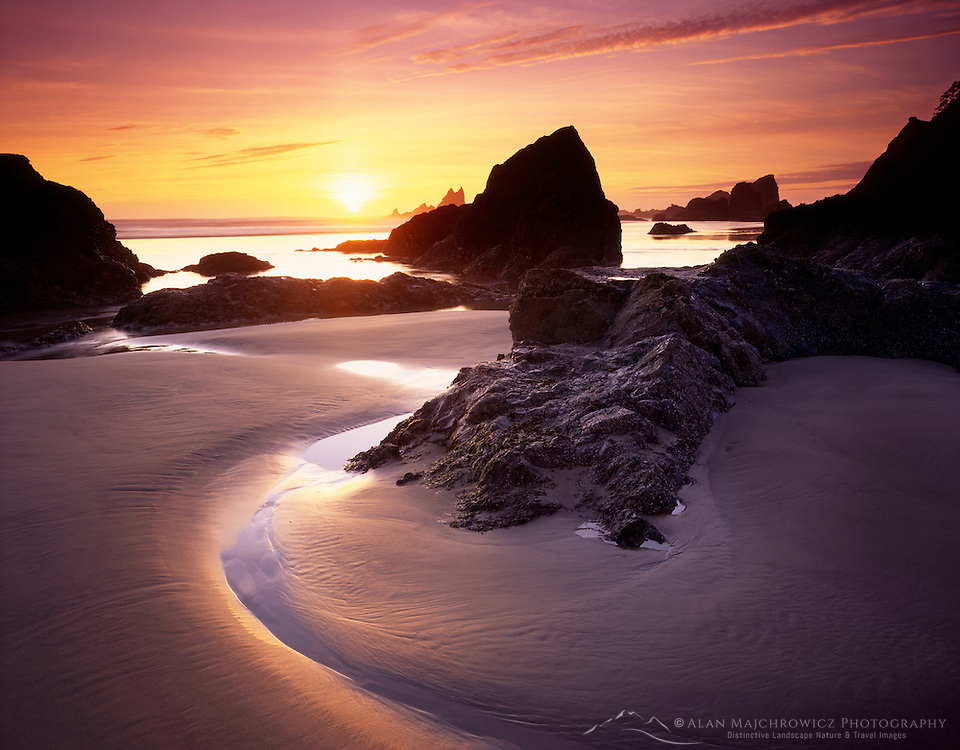 Sunset on Crescent Beach Ecola State Park Oregon USA