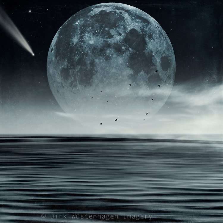 Abstract seascape with full moon and stars - composing<br /> Society6 products: https://society6.com/product/oceans-of-tranquility_print#s6-4633996p4a1v45<br /> <br /> Redbubble prints: http://www.redbubble.com/people/dyrkwyst/works/22247862-oceans-of-tranquility