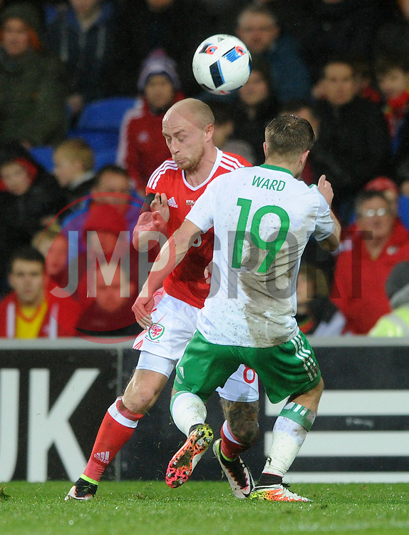 David Cotterill of Wales is blocked by Jamie Ward of Northern Ireland - Mandatory by-line: Dougie Allward/JMP - Mobile: 07966 386802 - 24/03/2016 - FOOTBALL - Cardiff City Stadium - Cardiff, Wales - Wales v Northern Ireland - Vauxhall International Friendly