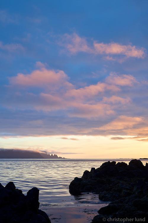 Sunset in Ingólfsfjörður. Looking Northwest towards Drangaskörð. Strandir area, Northwest Iceland.