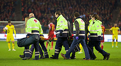 BRUSSELS, BELGIUM - Sunday, November 16, 2014: Belgium's Dries Mertens is carried off after being knocked unconscious during the UEFA Euro 2016 Qualifying Group B game against Wales at the King Baudouin [Heysel] Stadium. (Pic by David Rawcliffe/Propaganda)