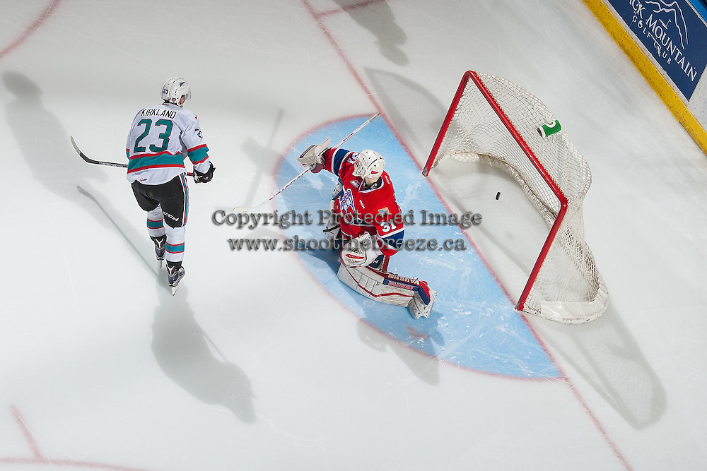 KELOWNA, CANADA - FEBRUARY 27: Justin Kirkland #23 of Kelowna Rockets scores the first shoot out goal against Tyson Verhelst #31 of Spokane Chiefs on February 27, 2016 at Prospera Place in Kelowna, British Columbia, Canada.  (Photo by Marissa Baecker/Shoot the Breeze)  *** Local Caption *** Justin Kirkland; Tyson Verhelst;