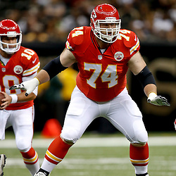 Aug 9, 2013; New Orleans, LA, USA; Kansas City Chiefs tackle Geoff Schwartz (74) against the New Orleans Saints during a preseason game at the Mercedes-Benz Superdome. The Saints defeated the Chiefs 17-13. Mandatory Credit: Derick E. Hingle-USA TODAY Sports