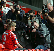 Liverpool new boy Fernando Torres, at Anfield,