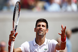 May 30, 2018 - Paris, Ile-de-France, France - Novak Djokovic of Serbia celebrates victory during the mens singles second round match against Juame Munar of Spain during day four of the 2018 French Open at Roland Garros on May 30, 2018 in Paris, France. (Credit Image: © Mehdi Taamallah/NurPhoto via ZUMA Press)