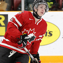 TRENTON, - Dec 10, 2015 -  Exhibition Game 3-  Russia vs Team Canada West at the 2015 World Junior A Challenge at the Duncan Memorial Gardens, ON. Brinson Pasichnuk #6 of Team Canada West during the pre-game warmup (Photo: Amy Deroche / OJHL Images)
