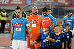October 21, 2017 - Napoli, Napoli, Italy - Naples - Italy 21/10/2017.MAREK HAMSIK and JOSE' REINA during Serie A  match between S.S.C. NAPOLI and INTER  at Stadio San Paolo of Naples. (Credit Image: © Emanuele Sessa/Pacific Press via ZUMA Wire)