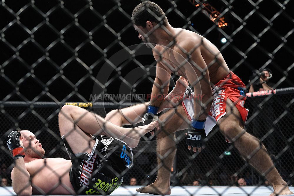 "DUBLIN, IRELAND, JANUARY 17, 2009: Jeremy Horn (left) and Rousimar Palhares during ""UFC 93: Franklin vs. Henderson"" inside the O2 Arena in Dublin, Ireland"
