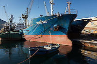 """PALERMO, ITALY - 6 JUNE 2016: (L-R) Cargo ship Munzur, seized in December 2015 with 13 tons of hashishith 5 tons of hashish within the """"Operazione Libeccio"""", is docked here in the harbor of Palermo, Italy, on June 6th 2016.<br /> <br /> Between January 2014 e December 2015 more than 120 tons of hashish, carried on fishing boats or cargo ships from Morocco to Libya, were seized in the Strait of Sicily by Italy's Guardia di Finanza (Financial Police) thanks to an international police investigation named """"Operazione Libeccio"""", carried out by the GICO (Gruppo Investigativo Criminalità Organizzata, Organised Crime Investigation Group), a unit of the tax police of Palermo under the supervision of the DDA (Direzione Distrettuale Antimafia) of Palermo.<br /> <br /> """"What is happening in Libya is same historical occurrence that happened years ago in Afghanistan. Such as the Talibans who financed their terroristic activities with heroin trafficking for the purchase of weapons, the Caliphate is proposing the same terroristic strategy by purchasing and commercialising hashish in order to purchase weapons used in their war"""" Sergio Barbera, Deputy General Prosecutor of Palermo, said."""