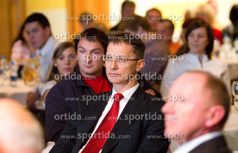 Primoz Kozmus and Igor Luksic during the Slovenia's Athlete of the year award ceremony by Slovenian Athletics Federation AZS, on November 12, 2008 in Hotel Mons, Ljubljana, Slovenia.(Photo By Vid Ponikvar / Sportida.com) , on November 12, 2010.