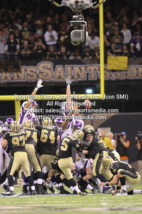24 January 2010: New Orleans Saints PK Garrett Hartley (5) kicks the game winning field goal in overtime.  The New Orleans Saints defeated the Minnesota Vikings by a score of 31 to 28 at the Louisiana Superdome, New Orleans, LA.