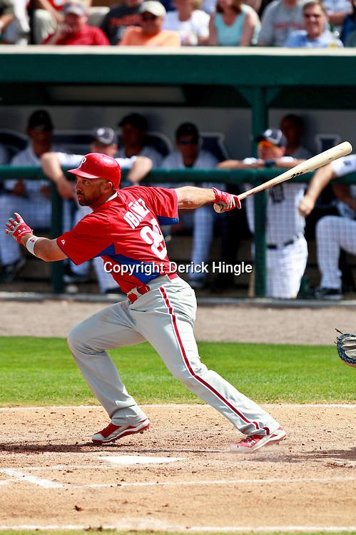 March 9, 2011; Lakeland, FL, USA; Philadelphia Phillies left fielder Raul Ibanez (29) during a spring training exhibition game against the Detroit Tigers at Joker Marchant Stadium.   Mandatory Credit: Derick E. Hingle