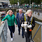 27.07.17.          <br /> Ireland Women's Rugby captain Niamh Briggs was mobbed by young fans in Limerick earlier today (Thursday) as she arrived in the city by boat for the Women's Rugby World Cup trophy tour.<br /> <br /> Pictured are, Ireland Women's Rugby captain Niamh Briggs, Mayor of Limerick, Cllr Stephen Keary and Karen Keehan, LMSAR.<br />  <br /> <br /> <br /> <br /> The Limerick based garda and Munster fullback was escorted on the River Shannon by Limerick Marine Search and Rescue along with Nevsail kayakers as she made her way to Arthur's Quay jetty to be officially met by Mayor of Limerick, Cllr Stephen Keary. Picture: Alan Place