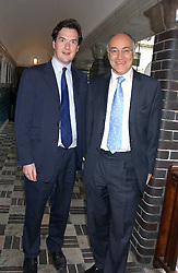 Left to right, GEORGE OSBORNE MP and MICHAEL HOWARD MP at the No Campaign's Summer Party - a celebration of the 'Non' and 'Nee' votes in the Europen referendum in France and The Netherlands held at The Peacock House, 8 Addison Road, London W14 on 5th July 2005.<br />