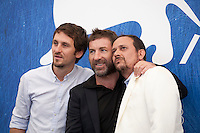 Director Raul Arevalo, actors Antonio De La Torre and Luis Callejo at the The Fury of a Patient Man film photocall at the 73rd Venice Film Festival, Sala Grande on Friday September 2nd 2016, Venice Lido, Italy.