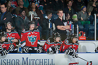 KELOWNA, CANADA - DECEMBER 6: Brendan Hait, equipment manager of the Kelowna Rockets stands on the bench against the Prince Albert Raiders on December 6, 2014 at Prospera Place in Kelowna, British Columbia, Canada.  (Photo by Marissa Baecker/Shoot the Breeze)  *** Local Caption *** Brendan Hait;