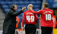 Photo: Steve Bond/Richard Lane Photography. Leicester City v Swansea City. FA Cup Third Round. 02/01/2010. David Cotterill (C) is congratulated by manager Paulo Sousa (L)