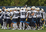 Jun 3, 2019; Costa Mesa, CA, USA; Los Angeles Chargers players huddle during organized team activities at the Hoag Performance Center.