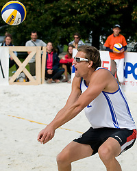 Jernej Potocnik of Slovenia receives a ball at CEV European Continental Beach Volleyball Cup for Olympic Qualification, on September 5, 2010, in Zrece, Slovenia. (Photo by Matic Klansek Velej / Sportida)