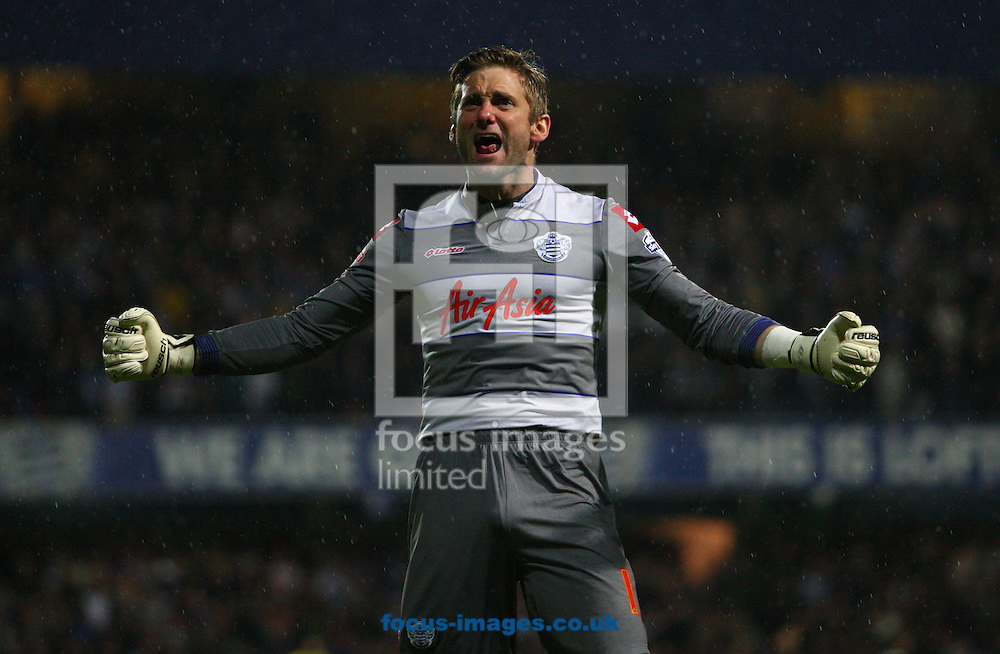 Rob Green goalkeeper of Queens Park Rangers celebrates going 2-1 up during the Sky Bet Championship play off semi final second leg at the Loftus Road Stadium, London<br /> Picture by Rob Fisher/Focus Images Ltd +44 7450 945824<br /> 12/05/2014