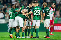 Abass Issah of NK Olimpija, Stefan Savic of NK Olimpija, Danijel Miskic of NK Olimpija, Branko Ilic of NK Olimpija, Nik Kapun of NK Olimpija Ljubljana, Dario Canadzija of NK Olimpija celebrate after scoring third goal during football match between NK Aluminij and NK Olimpija Ljubljana in the Final of Slovenian Football Cup 2017/18, on May 30, 2018 in SRC Stozice, Ljubljana, Slovenia. Photo by Vid Ponikvar / Sportida