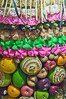 Vertical detail of celebratory altar decoration in East Bali, Indonesia