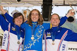 Second placed Emmeline Ragot, winner Floriane Pugin and third placed Celine Gros (all FRA) of Elite Women category at MTB Downhill European Championships, on June 14, 2009, at Kranjska Gora, Slovenia. (Photo by Vid Ponikvar / Sportida)