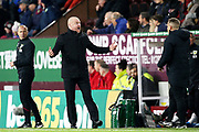 Burnley Manager Sean Dyche is not happy with the decision during the Premier League match between Burnley and West Ham United at Turf Moor, Burnley, England on 9 November 2019.