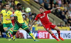 Lee Tomlin of Bristol City goes past Harry Toffolo of Norwich City - Mandatory by-line: Robbie Stephenson/JMP - 16/08/2016 - FOOTBALL - Carrow Road - Norwich, England - Norwich City v Bristol City - Sky Bet Championship
