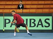 Wroclaw 30/01/2013.Hala Stulecia.Davis Cup .Poland vs Slovenia.Jerzy Janowicz of Poland during the training session..Photo by : Piotr Hawalej