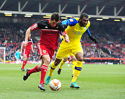 Bristol City's Sam Baldock is fouled by Sheffield Wednesday's Réda Johnson - Photo mandatory by-line: Joe Meredith/JMP - Tel: Mobile: 07966 386802 01/04/2013 - SPORT - FOOTBALL - Ashton Gate - Bristol -  Bristol City V Sheffield Wednesday - Npower Championship