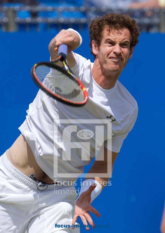Andy Murray of Great Britain serving during his second round match against Fernando Verdasco of Spain in the Aegon Championships at the Queen's Club, West Kensington<br /> Picture by Alan Stanford/Focus Images Ltd +44 7915 056117<br /> 18/06/2015