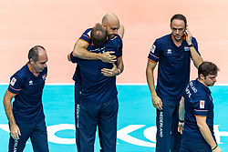 19-10-2018 JPN: Semi Final World Championship Volleyball Women day 20, Yokohama<br /> Serbia - Netherlands / Rinke van den Brink of Netherlands, Coach Jamie Morrison of Netherlands, Manager Marc de Haan of Netherlands, Assistent Coach Eelco Beijl of Netherlands, Assistent Coach Alessandro Bracceschi of Netherlands