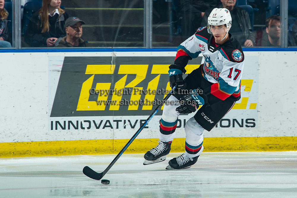 KELOWNA, BC - FEBRUARY 12: Alex Swetlikoff #17 of the Kelowna Rockets skates with the puck during first period against the Tri-City Americans at Prospera Place on February 8, 2020 in Kelowna, Canada. (Photo by Marissa Baecker/Shoot the Breeze)