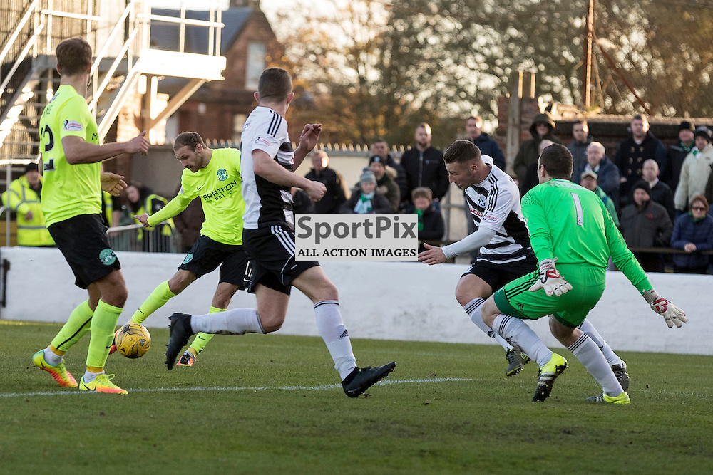 Ayr v Hibernian   SPFL season 2016-2017  <br /> <br /> Martin Boyle (Hibernian) scores opening goal during the Ladbrokes Championship match between Ayr &amp; Hibernian at Somerset Park Stadium on 5 November 2016<br /> <br /> Picture: Alan Rennie