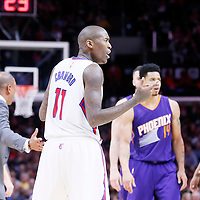 08 December 2014: Los Angeles Clippers guard Jamal Crawford (11) reacts after his ejection during the Los Angeles Clippers 121-120 overtime victory over the Phoenix Suns, at the Staples Center, Los Angeles, California, USA.