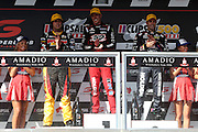 James Courtney (Holden Racing Team) winner of Race 2 with 3rd Chaz Mostert and 2nd Jamie Whincup. 2016 Clipsal 500 Adelaide. V8 Supercars Championship Round 1. Adelaide Street Circuit, South Australia. Saturday 5 March 2016. Photo: Clay Cross / photosport.nz