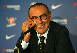July 18, 2018 - London, England, United Kingdom - Maurizio Sarri, manager of Chelsea during a press conference at Stamford Bridge Ground,  London on 18 July , 2018. (Credit Image: © Action Foto Sport/NurPhoto via ZUMA Press)