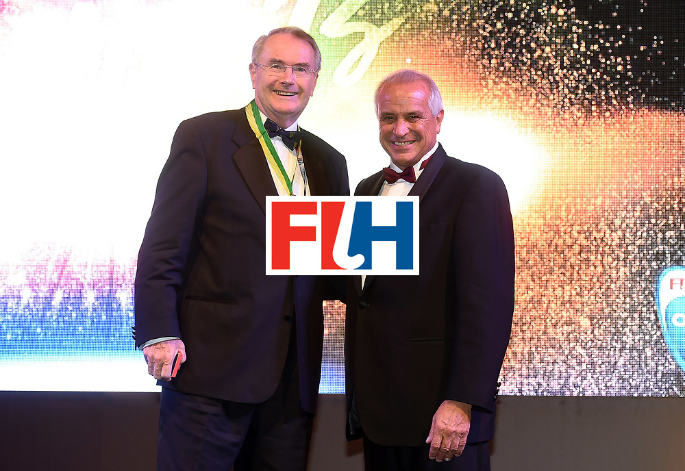 DUBAI, UNITED ARAB EMIRATES - NOVEMBER 11: Martin Gotheridge recieves the Order of Merit from Leandro Negre at the Hockey Revolution Part 2 No Limits Ball on November 11, 2016 in Dubai, United Arab Emirates.  (Photo by Tom Dulat/Getty Images)
