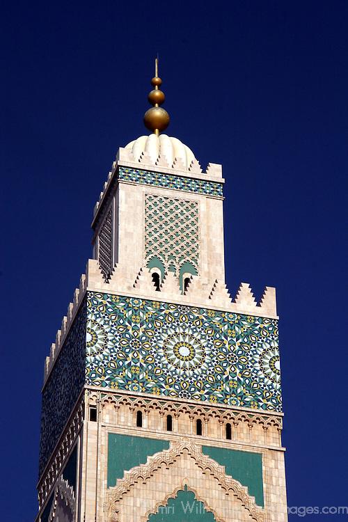 North Africa, Morocco, Casablanca. Hassan II Mosque Minaret