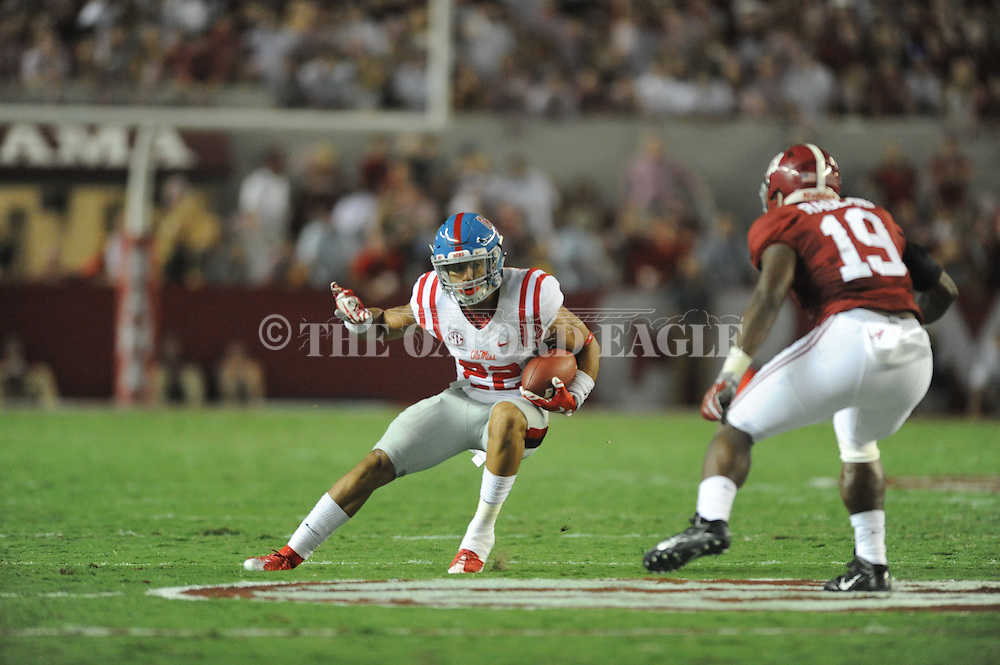 Ole Miss Rebels running back Jordan Wilkins (22) vs. Alabama at Bryant-Denny Stadium in Tuscaloosa, Ala. on Saturday, September 19, 2015. Ole Miss won 43-37.