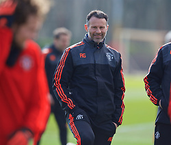 MANCHESTER, ENGLAND - Wednesday, March 16, 2016: Manchester United's assistant manager Ryan Giggs during a training session at Carrington Training Ground ahead of the UEFA Europa League Round of 16 2nd Leg match against Liverpool. (Pic by David Rawcliffe/Propaganda)