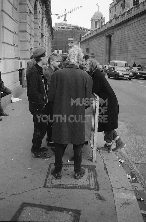 Group of punks at Stop the City protest, London, 1983.