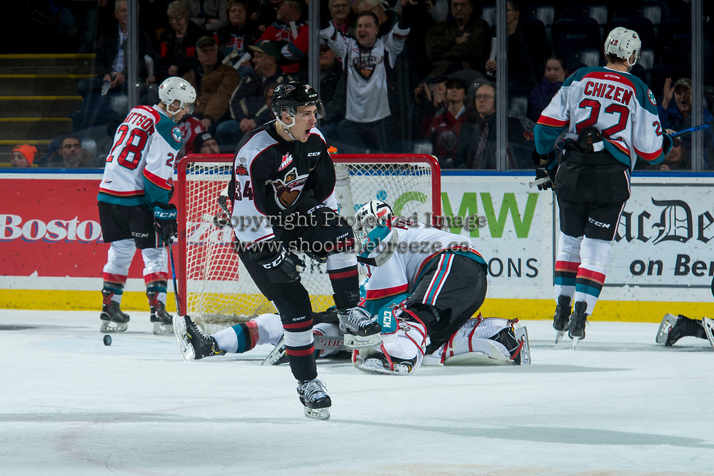 KELOWNA, CANADA - MARCH 7: Brayden Watts #34 of the Vancouver Giants celebrates a third period goal against the Kelowna Rockets  on March 7, 2018 at Prospera Place in Kelowna, British Columbia, Canada.  (Photo by Marissa Baecker/Shoot the Breeze)  *** Local Caption ***