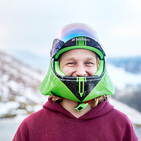 A photograph portrait of a skateboarder in winter in the Lake Distict, Cumbria
