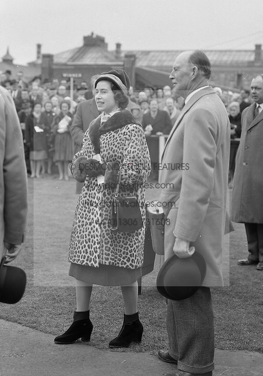 HM The Queen Elizabeth II and Brig.John Combe at the Grand Military Race Meeting at Sandown Park Racecourse, Esher, Surrey on 23rd March 1962.