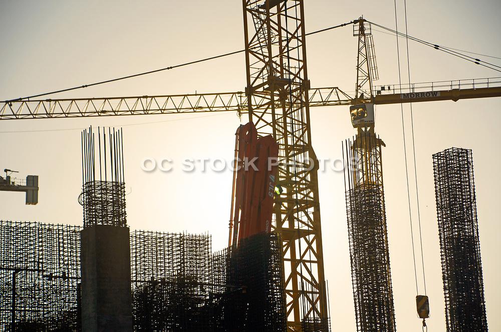 Multiple Construction Cranes Silhouette