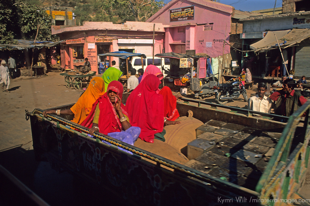 Asia, India.  Rajasthani Women in the back of a truck.