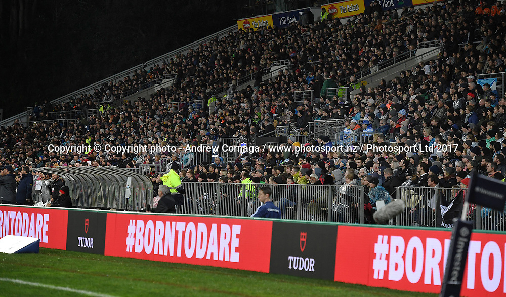 General view and LED signage.<br /> Rugby Championship test match rugby union. New Zealand All Blacks v Argentina Los Pumas, Yarrow Stadium, New Plymouth. New Zealand. Saturday 9 September 2017. &copy; Copyright photo: Andrew Cornaga / www.Photosport.nz