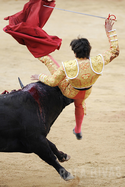 A Fuente Ymbro fighting bull gores French matador Sebastian Castella during the third corrida of the San Fermin festivities, on July 9, 2008, in Pamplona, north of Spain.